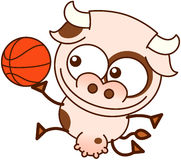 Cute cow playing basketball Royalty Free Stock Images