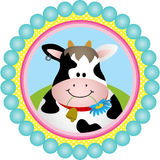 Cute Cow Round Label Stock Photo
