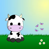 Cute cow sitting in grass. With flowers and butterflies stock illustration