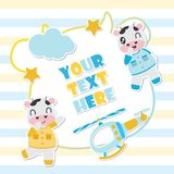 Cute cow and toys frame vector cartoon illustration for baby shower card design. Postcard, and wallpaper Royalty Free Stock Image