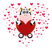 Cute cow valentine love Royalty Free Stock Photos