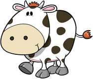 Cute Cow Vector. Cute Spotted Cow Vector Illustration Royalty Free Stock Images