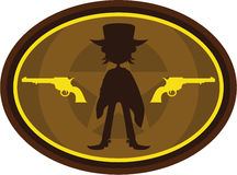 Cute Cowboy Gunslinger Badge. Adorably Cute Wild West Cowboy Silhouette with Six Shooter Guns - Vector Illustration Royalty Free Stock Images