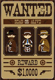 Cute Cowboy Outlaws Poster. Vector Illustration of Cute Cartoon Style Little Cowboy Outlaw Gunslingers on a Wanted Dead or Alive Poster Royalty Free Stock Photos
