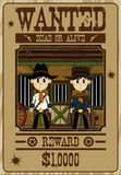 Cute Cowboy Outlaws Poster. Vector Illustration of Cute Cartoon Style Little Cowboy Outlaw Gunslingers on a Wanted Dead or Alive Poster Stock Photography