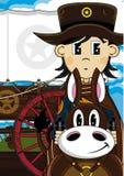 Cute Cowboy Sheriff on Horse Stock Image