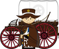 Cute Cowboy Sheriff and Wagon Stock Photo