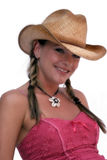 Cute Cowgirl. Young woman in cowboy hat and pigtails, isolated on white background Stock Photography