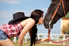 Cute cowgirl on ranch Stock Photography