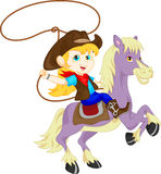 Cute Cowgirl rider on the horse throwing lasso Stock Photos