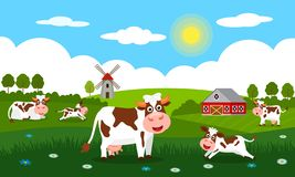 Cute cows and funny calves graze on green grass against a background of rural summer landscape, farm and mill. Flat vector. Illustration in cartoon style vector illustration