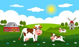 Cute cows and funny calves graze on green grass against a background of rural summer landscape, farm and mill. Flat vector. Illustration in cartoon style royalty free illustration