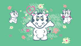 Cute cows illustration Royalty Free Stock Images