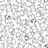 Cute cows with milk and cheese seamless pattern Stock Photo