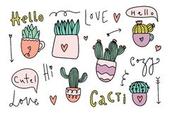 Cute cozy home theme cacti collection. Vector illustrations vector illustration
