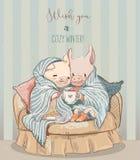 Cute cozy winter couple of pigs. vector art. Cute cozy winter couple of pigs on sofa stock illustration