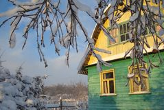 Cute cozy wooden rural house in the russian  village Royalty Free Stock Photo