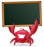Cute Crab holding Blank Sign. Great illustration of a Cute Cartoon Crab holding a chalk style blackboard with his Pincers to display his fishy menu Stock Image
