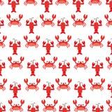 Cute crab and lobster sealife pattern. Vector illustration design stock illustration