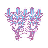 Cute crab with seaweed sealife character. Vector illustration design stock illustration
