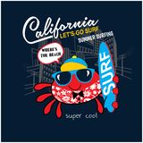 Cool crab surfer, vector print for children wear in custom colors, grunge effect in separate layer stock illustration