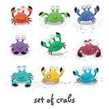 Cute crabs, funny characters. Vector illustration Stock Photos