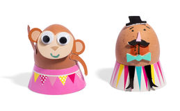Cute craft characters made from eggs Royalty Free Stock Image