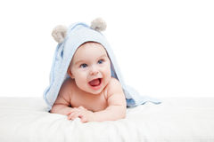 Cute crawling baby Stock Images