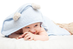 Cute crawling baby Stock Photos