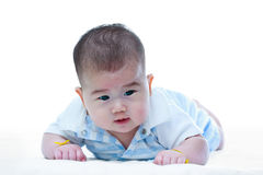 Cute crawling baby. Adorable baby girl, on white background. Royalty Free Stock Image