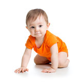 Cute crawling baby boy stock photo