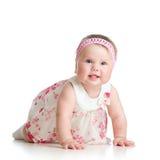 Cute crawling baby girl on white. Pretty crawling baby girl on white background stock photography