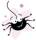 Cute crazy black spider in pink star Stock Images