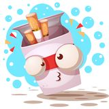 Cute, crazy cigarette - cartoon characters. stock illustration