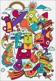 Cute crazy doodles life vector illustration. Doodle drawing style. Design Elements Royalty Free Stock Image