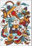 Cute crazy doodles life vector illustration. Doodle drawing style. Design Elements vector illustration
