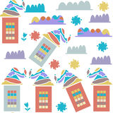 Cute creative houses seamless pattern and seamless pattern in. Swatch menu, vector picture vector illustration