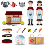Cute creative pet shop object icon such as store exterior design Royalty Free Stock Images
