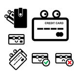 Cute Credit Card Vector Icon Set. Cute Credit Card with Eyes Vector Icon Set Isolated on White Background Royalty Free Stock Photos