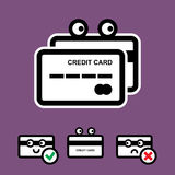 Cute Credit Card Vector Icon Set. Cute Credit Card with Eyes Vector Icon Set Isolated on White Background Royalty Free Stock Photo