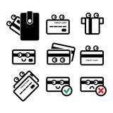 Cute Credit Card Vector Icon Set. Cute Credit Card with Eyes Vector Icon Set Isolated on White Background Stock Photos