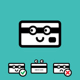 Cute Credit Card Vector Icon Set. Cute Credit Card with Eyes Vector Icon Set  on White Background Stock Photo