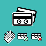 Cute Credit Card Vector Icon Set. Cute Credit Card with Eyes Vector Icon Set  on White Background Stock Photography