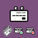 Cute Credit Card Vector Icon Set. Cute Credit Card with Eyes Vector Icon Set  on White Background Stock Image