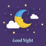 Cute crescent moon in nightcap Stock Photography