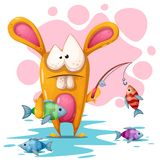 Cute, crezy rabbit with fishing road. stock illustration