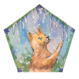 Cute cristmas cat. With icicles Royalty Free Stock Image