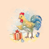 Cute cristmas rooster, watercolor vintage illustration. Bird wit Royalty Free Stock Image