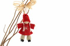 Cute Crochet angel christmas decoration. Isolated on white stock photo