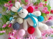 Cute crochet rabbit  doll Stock Image